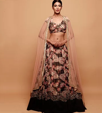 Floral Printed Lehenga with Black Border - The Grand Trunk