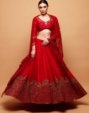 Astha Narang Red Lehenga with Gold Border - The Grand Trunk