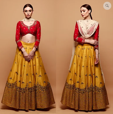 Astha Narang Mustard Yellow Lehenga With Red Blouse - The Grand Trunk