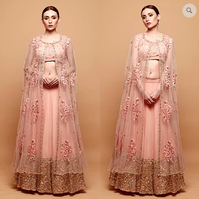 Pink Lehenga with Threadwork Choli and Cape - The Grand Trunk
