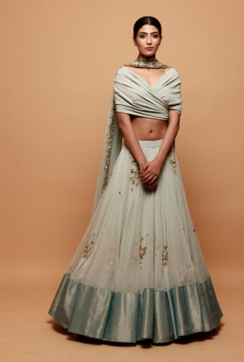 Astha Narang Sky Blue Lehenga With Drape Blouse - The Grand Trunk
