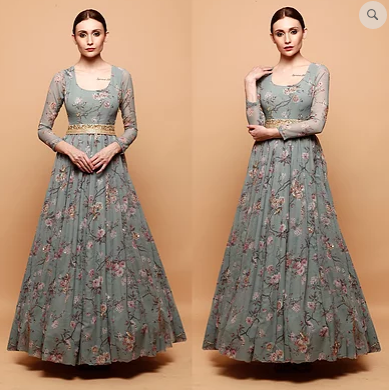 Astha Narang Blue Floral Print Anarkali Gown - The Grand Trunk