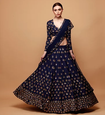 Navy Blue Embroidery Booti Lehenga - The Grand Trunk