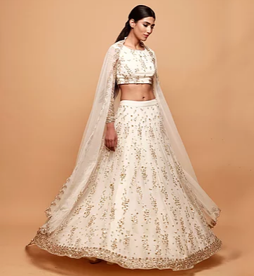 Astha Narang White Cluster Lehenga - The Grand Trunk