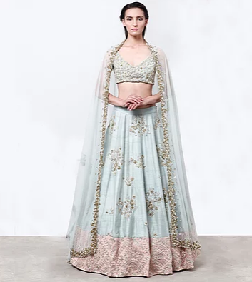 Astha Narang Sky Blue Raw Silk Lehenga with Pink Border - The Grand Trunk