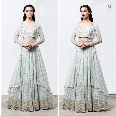 Astha Narang Powder Blue Shimmer Lehenga - The Grand Trunk