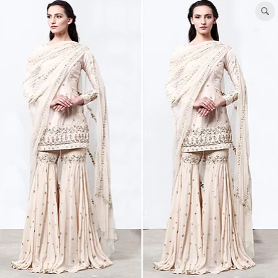 Cream Kurta With Sharara - The Grand Trunk