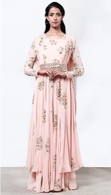 Astha Narang Pink Jumpsuit with Cape and Belt - The Grand Trunk
