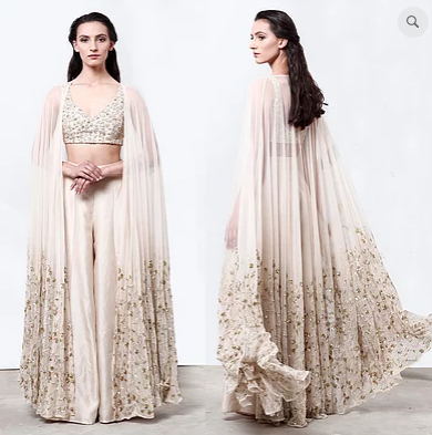 Astha Narang Long Embroidered Cape with Pants - The Grand Trunk