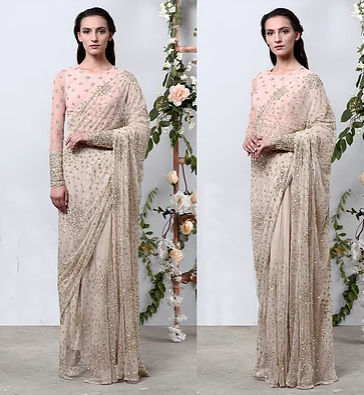Astha Narang Cream Saree with Pink Blouse - The Grand Trunk