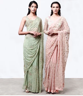 Astha Narang Mint Green Saree - The Grand Trunk