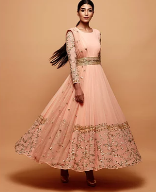 Astha Narang Pink Anarkali Suit With Gold Border - The Grand Trunk