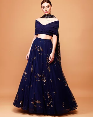 Navy Blue Lehenga with Wrap Blouse - The Grand Trunk