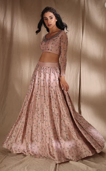 Astha Narang Pale Pink Raw Silk Lehenga - The Grand Trunk