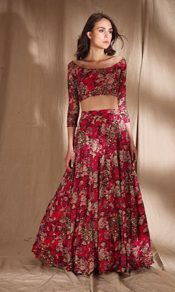 Astha Narang Red Floral Print Georgette - The Grand Trunk