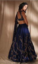 Load image into Gallery viewer, Astha Narang Dark Blue and Gold Lehenga - The Grand Trunk