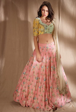 Load image into Gallery viewer, Astha Narang Pink and Lime Yellow Lehenga - The Grand Trunk
