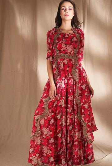 Astha Narang Red Floral With Belt - The Grand Trunk