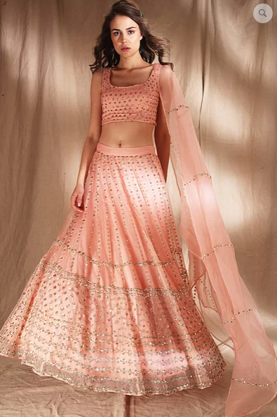 Astha Narang Peach Pink Lehenga - The Grand Trunk