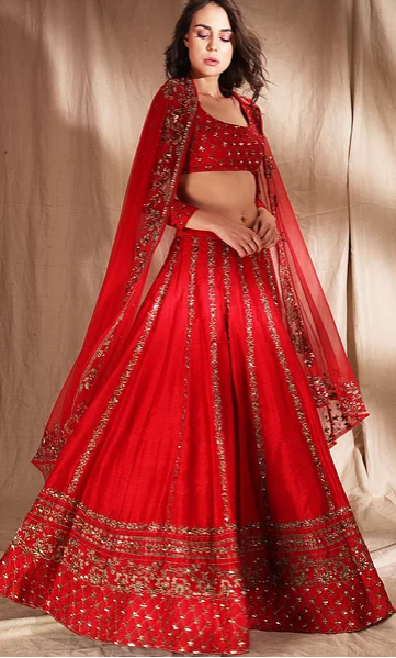 Astha Narang Red Zari Raw Silk Lehenga - The Grand Trunk