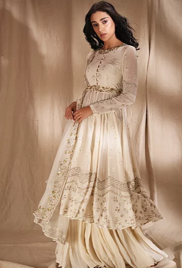 Astha Narang Cream Anarkali Suit with belt and Sharara - The Grand Trunk
