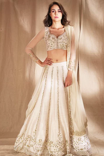 Astha Narang White and gold zari sequin Lehenga - The Grand Trunk