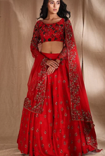 Load image into Gallery viewer, Astha Narang Red Raw Silk motif Lehenga - The Grand Trunk