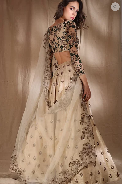 Astha Narang White Raw Silk Motif Lehenga - The Grand Trunk
