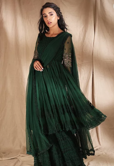 Astha Narang Emerald Green Threadwork With Jacket - The Grand Trunk