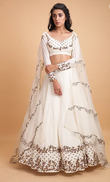 Astha Narang White silk Lehenga - The Grand Trunk