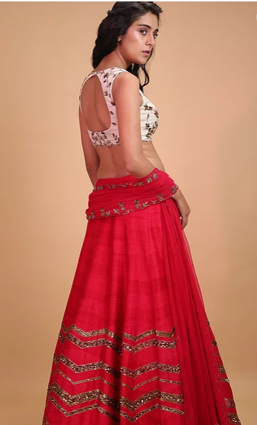 Astha Narang Hot Pink Geometrical Zari Lehenga - The Grand Trunk