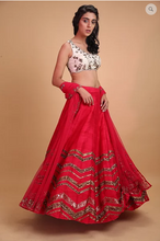 Load image into Gallery viewer, Astha Narang Hot Pink Geometrical Zari Lehenga - The Grand Trunk