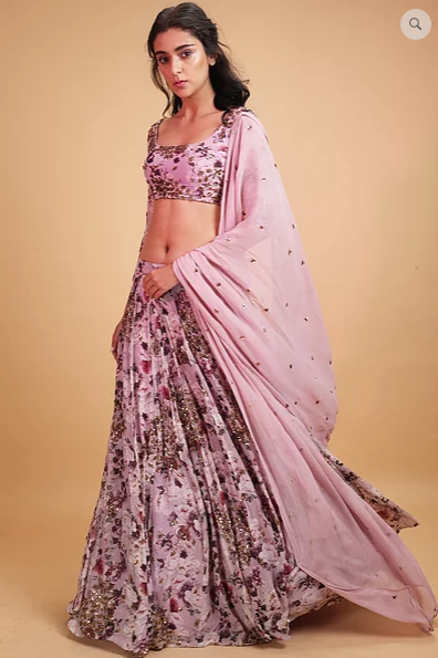 Astha Narang Lavender Floral Print Lehenga - The Grand Trunk