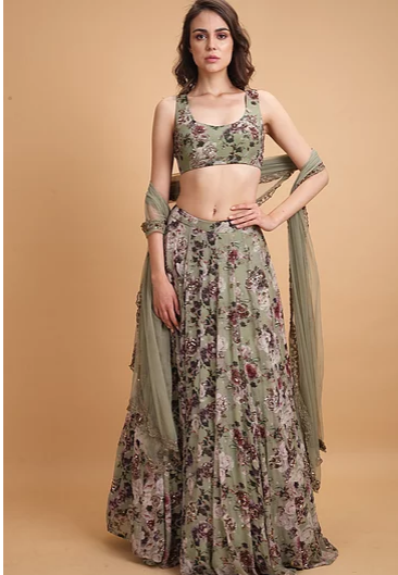 Astha Narang Olive Green Floral Printed Lehenga - The Grand Trunk