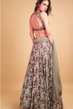 Load image into Gallery viewer, Astha Narang Olive Green Floral Printed Lehenga - The Grand Trunk