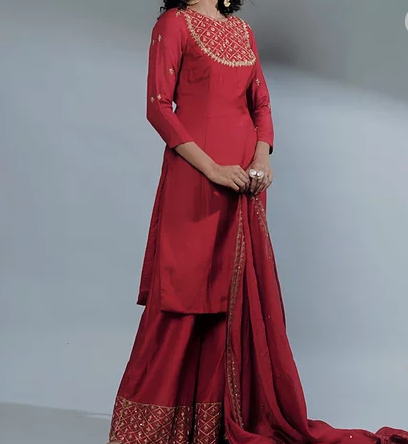 Astha Narang Rose Red Kurti And Sharara - The Grand Trunk