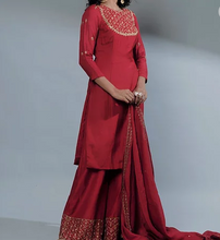 Load image into Gallery viewer, Astha Narang Rose Red Kurti And Sharara - The Grand Trunk
