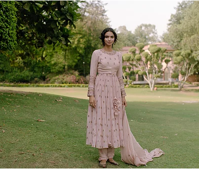 Astha Narang Baby Pink Anarkali - The Grand Trunk