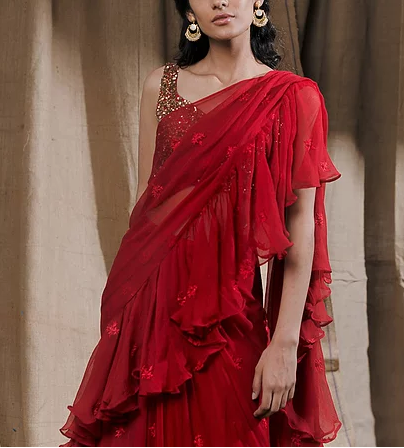 Astha Narang Red Ruffle Drape Saree - The Grand Trunk