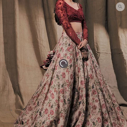 Astha Narang Beige Floral Printed Lehenga set - The Grand Trunk