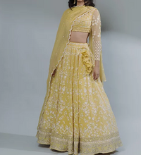 Load image into Gallery viewer, Astha Narang Lemon Yellow Thread Work Lehenga Set - The Grand Trunk
