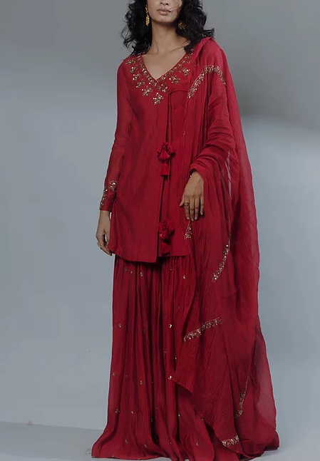 Astha Narang Red Embroidered Angrakha Set - The Grand Trunk