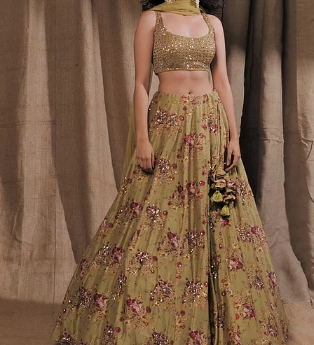 Astha Narang Leaf Green Floral Printed Lehenga Set - The Grand Trunk