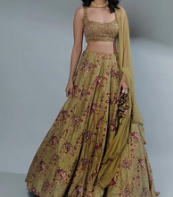 Load image into Gallery viewer, Astha Narang Leaf Green Floral Printed Lehenga Set - The Grand Trunk
