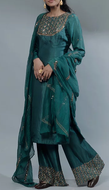 Pastel Green Long Kurti With Plazzo - The Grand Trunk