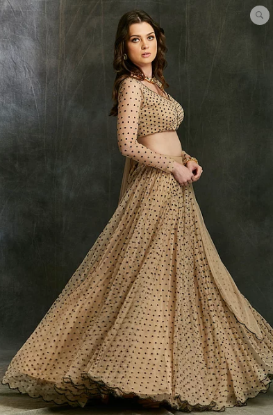 Astha Narang Beige and Black Polka Dot Lehenga - The Grand Trunk