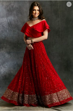 Load image into Gallery viewer, Astha Narang Off Shoulder Crop Top with Red Embroidered Lehenga - The Grand Trunk