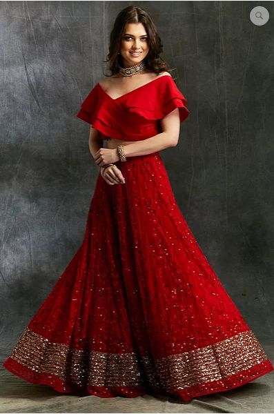Astha Narang Off Shoulder Crop Top with Red Embroidered Lehenga - The Grand Trunk