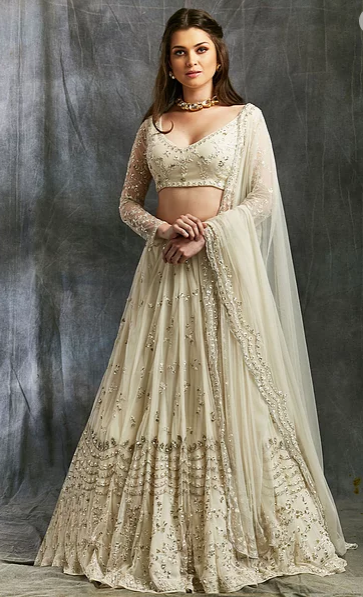 Astha Narang White and Silver Sequin Net Lehenga - The Grand Trunk