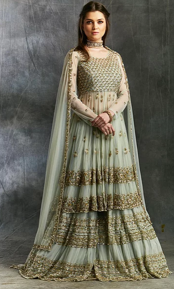 Astha Narang Sea Green Zari and Sequin Sharara - The Grand Trunk